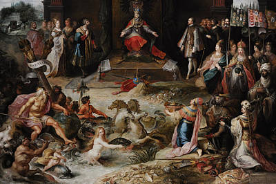 Allegory Of The Abdication Of Emperor Charles V In Brussels, C.1630-1640, By Frans Francken Art Print