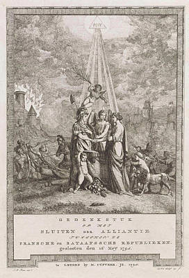 Allegory Of The Alliances Close, 1795, Johannes Huibert Art Print
