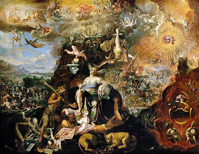 Joseph And The Angel Painting - Allegory Of The Apocalypse by Joseph Heintz the Younger