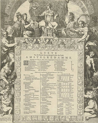 Family Crest Drawing - Allegory Of The Board Of The City Of Amsterdam by Gerard De Lairesse And Jacobus Robijn