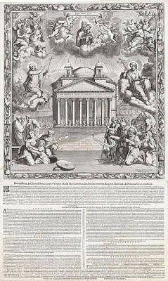 Allegory Of The Interior Of The Pantheon In Rome, Italy Print by Gommarus Wouters And Francis Platel Du Plateau And Reverenda Camera Apostolica Roma