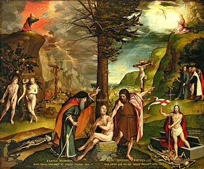 Allegory Of The Old And New Testaments, Early 1530s Oil On Panel Art Print by Hans Holbein the Younger