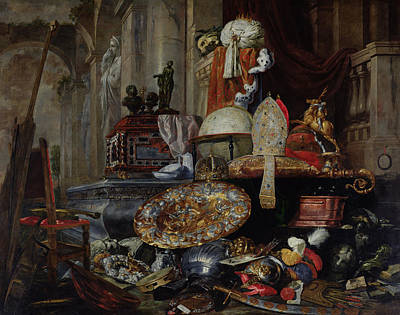 Crockery Photograph - Allegory Of The Vanities Of The World, 1663 Oil On Canvas by Pieter or Peter Boel