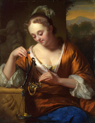Allegory Of Virtue And Riches Art Print by Godfried Schalcken