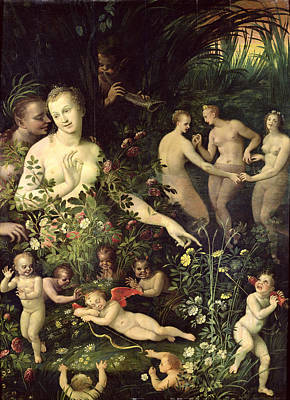 Of Nudes Painting - Allegory Of Water Or Allegory Of Love by Fontainebleau School