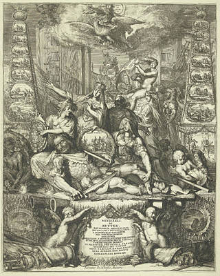 Family Crest Drawing - Allegory On The Death Of Michiel De Ruyter by Romeyn De Hooghe