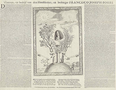 Letterpress Drawing - Allegory With The Portrait Of Gioseppe Francesco Borri by Seger Tielemans