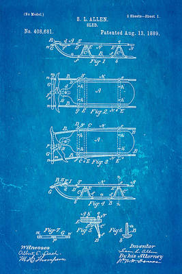 Allen Sled Patent Art 1889 Blueprint Art Print