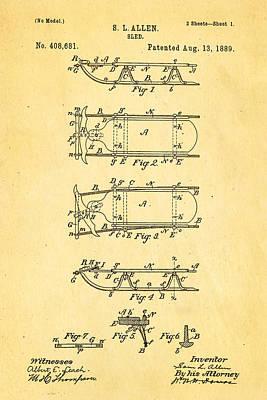 Allen Sled Patent Art 1889 Print by Ian Monk