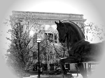 Photograph - Allentown Pa Lehigh County Court House And Davinci Horse Bw Vig by Jacqueline M Lewis