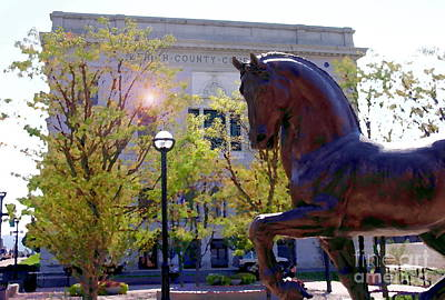 Photograph - Allentown Pa Old Lehigh County Courthouse And Davinci Horse  by Jacqueline M Lewis