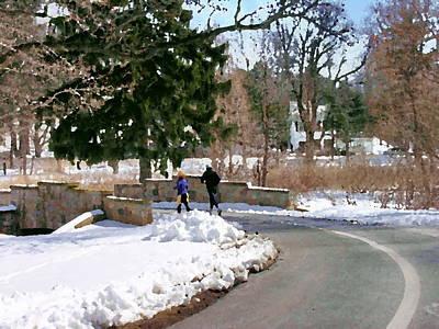 Allentown Pa Trexler Park Winter Exercise Art Print by Jacqueline M Lewis