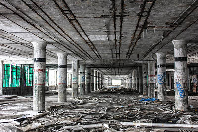 Detroit Abandoned Buildings Photograph - Packard Plant In Detroit Old Assembly Line  by John McGraw