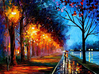 Alley By The Lake 2 - Palette Knife Oil Painting On Canvas By Leonid Afremov Original by Leonid Afremov
