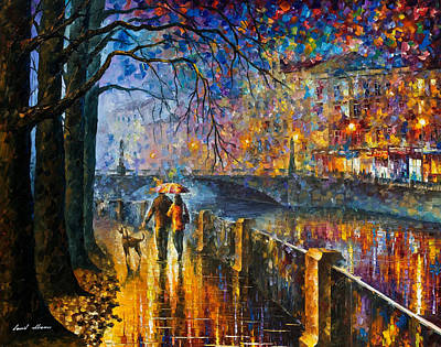 Alley By The River - Palette Knife Modern Landscape Oil Painting On Canvas By Leonid Afremov Original by Leonid Afremov