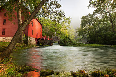 Alley Spring Grist Mill Waterfall And Lake Art Print by Gregory Ballos