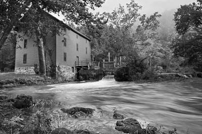 Alley Spring Mill - Black And White Art Print