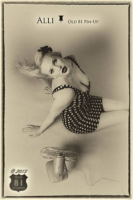 Pin Photograph - Alli In Polka Dots With Fan Old 81 Pinup 2013 by JC Kirk