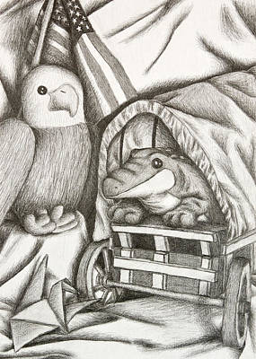 Conestoga Drawing - Alligator And Eagle Still Life by Jeanette K