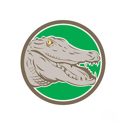 Alligator Digital Art - Alligator Head Snout Circle Retro by Aloysius Patrimonio