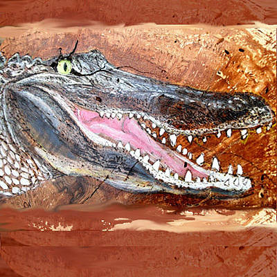 Alligator Mixed Media - Alligator Open Mouth by Jeanie Beline