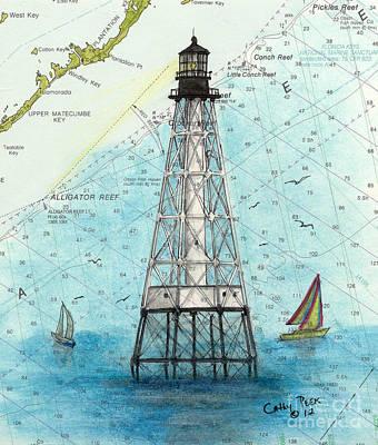 East Coast Lighthouse Painting - Alligator Reef Lighthouse Fl Keys Nautical Chart Map Art by Cathy Peek