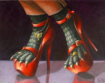 Platform Painting - Alligator Shoes by Eva Folks