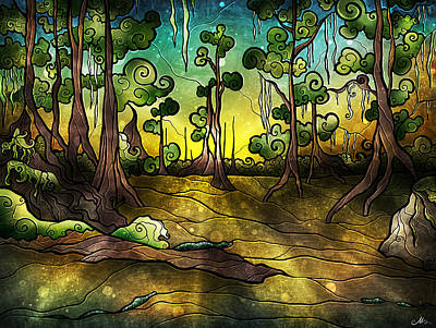 Digital Art - Alligator Swamp by Mandie Manzano