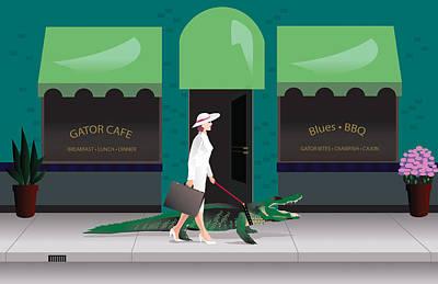 Storefront Mixed Media - Alligator Walk by Robert Korhonen