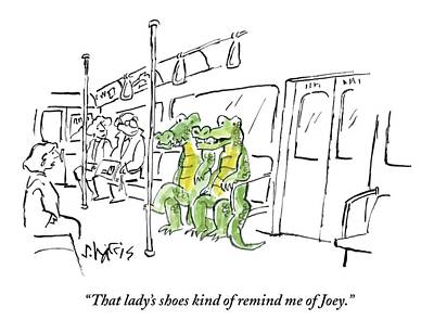Reptiles Drawing - Alligators Riding The Subway by Sidney Harris