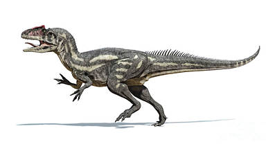 Game Of Chess - Allosaurus Dinosaur On White Background by Leonello Calvetti