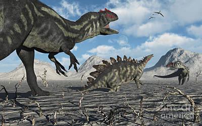 Allosaurus Digital Art - Allosaurus Dinosaurs Moving In To Kill by Mark Stevenson