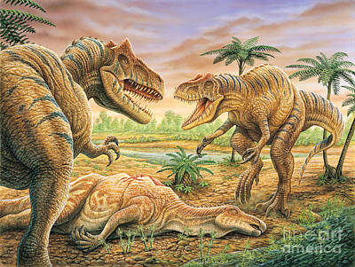 Carcass Painting - Allosaurus Face-off by Phil Wilson