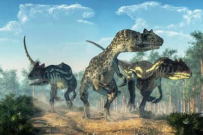 Dino Digital Art - Allosauruses by Daniel Eskridge