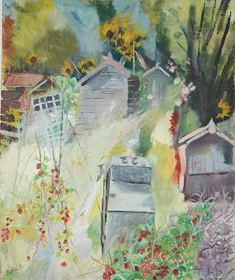 Allotment, Bishops Park, 2009 Oil On Canvas Print by Sophia Elliot