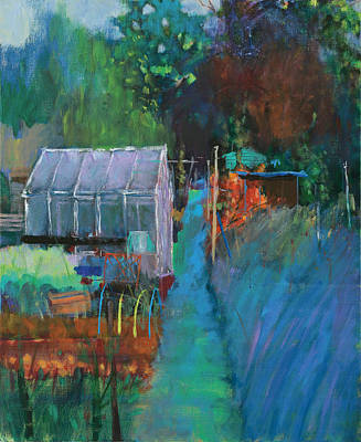 Row Of Trees Painting - Allotment by Marco Cazzulini