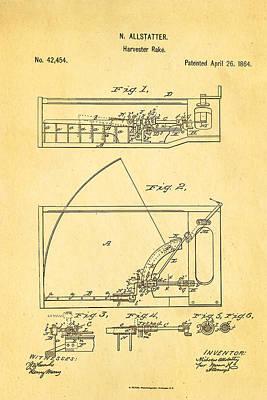Allstatter Harvester Rake Patent Art 1864 Art Print by Ian Monk