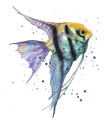 Angelfish Wall Art - Painting - Alluring Angelfish by Alison Fennell