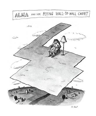 Alma And Her Flying Wall-to-wall Carpet Art Print by Roz Chast
