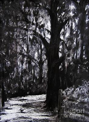 Moonlit Night Drawing - Almost There by Mary Lynne Powers