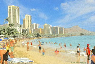 Drawing - Aloha From Hawaii - Waikiki Beach Honolulu by Art America Gallery Peter Potter
