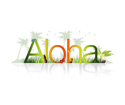 Beach Drawing - Aloha - Hawaii by Aged Pixel