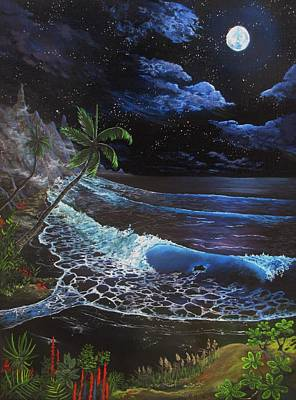 Art Print featuring the painting Aloha Luna by Kevin F Heuman
