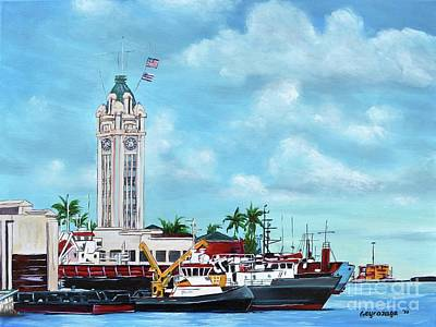 Painting - Aloha Tower by Larry Geyrozaga