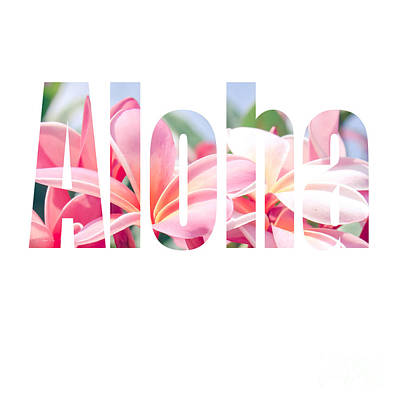 Pink Photograph - Aloha Tropical Plumeria Typography by Sharon Mau