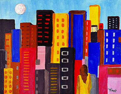 Painting - Alone Among All - City 05 by Mirko Gallery