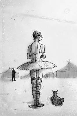 Ballerina Drawing - Alone by H James Hoff
