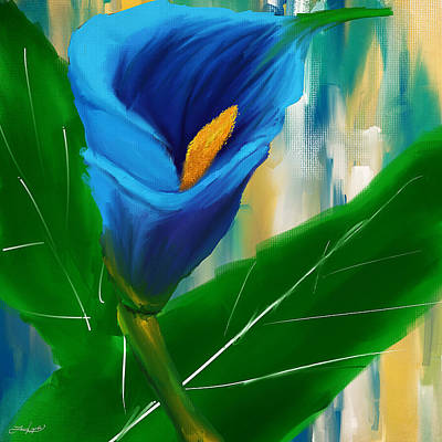 Lilies Royalty-Free and Rights-Managed Images - Alone In Blue- Calla Lily Paintings by Lourry Legarde