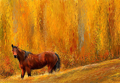 Horse In Autumn Painting - Alone In Grandeur- Bay Horse Paintings by Lourry Legarde