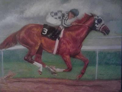 Belmont Stakes Painting - alone in the Belmont by Yvette Hirsch